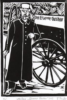 Flavia Panitz: Linolschnitt Eiserner Gustav